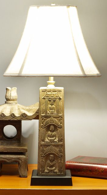 Stone Buddha Table Lamp With Shade Asian Table Lamps 27x14x14 $339