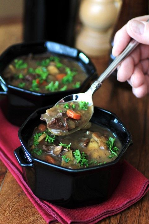 Beef, Wine and Mushroom Soup by Noshing With The Nolands