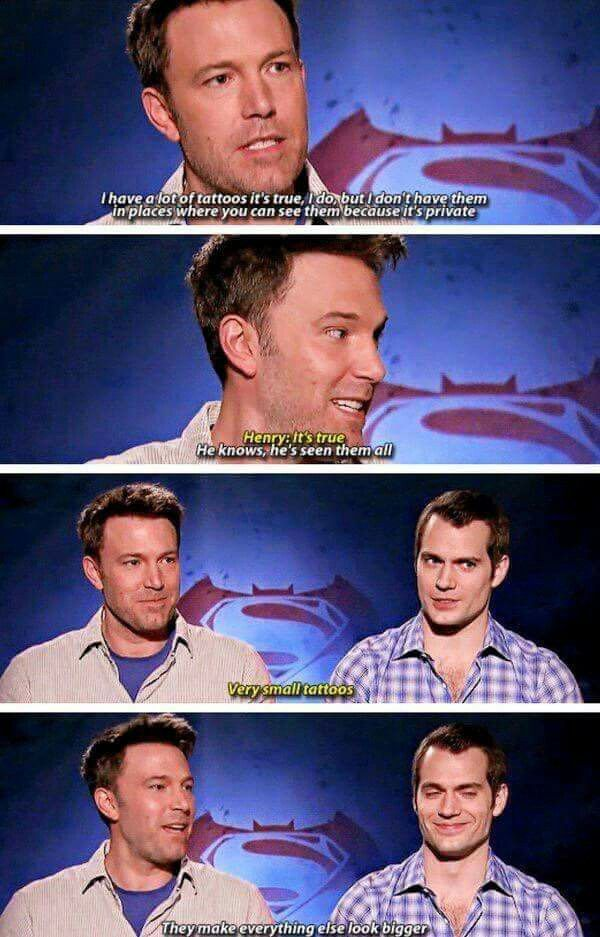 Ben Affleck and Henry Cavill - Batman VS Superman interview #funny #tattoo