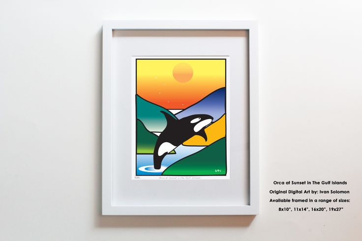 The Orca whale in the Gulf Islands has been one of our most loved designs. We're always inspired by these incredible animals who call the Pacific Northwest home. Also available with a purple background.