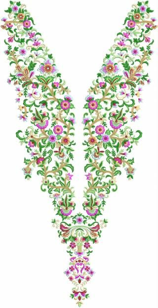 Floral Neck Embroidery Design