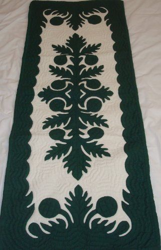 Hawaiian quilt table runner 100% hand quilted/hand appliqued Hawaiiana by Hawaiian Quilts and Gifts. $59.95. 100% Brand New Hawaiian Handmade Table Runner / Wall Hanging 20x50. There's a count of 6-8 stitches in an inch. 100% Hand Quilted and 100% Hand Appliqued. Hunter Green Breadfruit (Ulu) Design. It has 3 loops in the back where you can insert a rod for easy hanging. ALOHA, this quilt is made of 65% Polyester and 35% Cotton.  Which makes the quilt 100% machine washable. ...