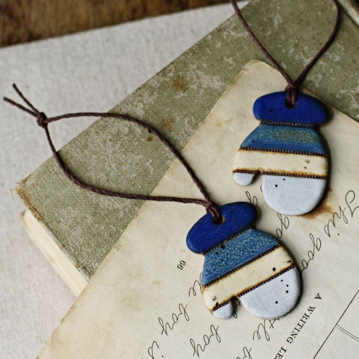 Winter Mittens- Handmade ceramic christmas ornaments.
