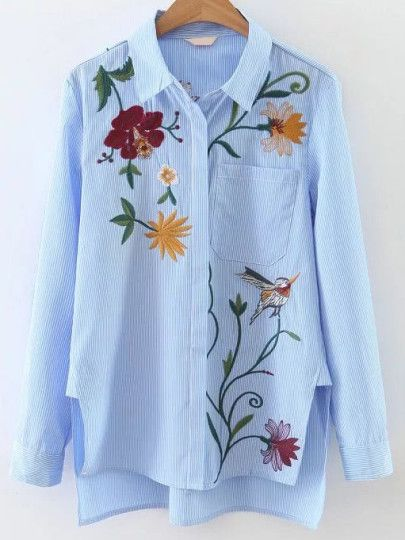 Blue Vertical Striped Embroidery High Low Blouse
