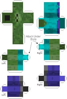 Make your own Minecraft Zombie print out papercraft