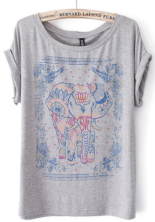 Grey Elephant Print Short Sleeve Cotton Blend T-Shirt
