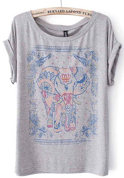 Grey Elephant Print Short Sleeve Cotton Blend T-Shirt