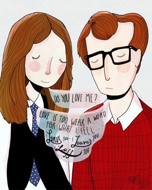 Artist :: Nan Lawson  Illustration Friday- Annie Hall ( Woddy Allen and Diane Keaton )
