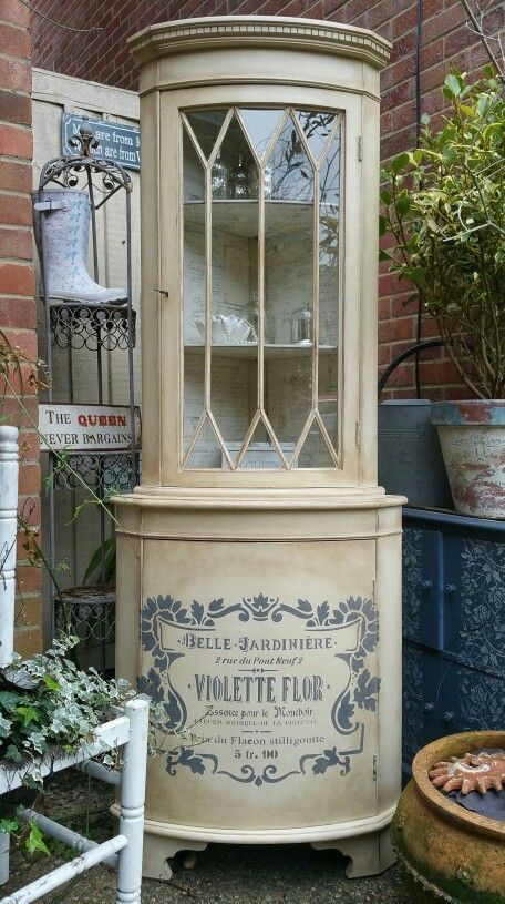 Corner display cabinet with a vintage French theme in Annie Sloan's Cream and dark wax,  by Imperfectly Perfect xx