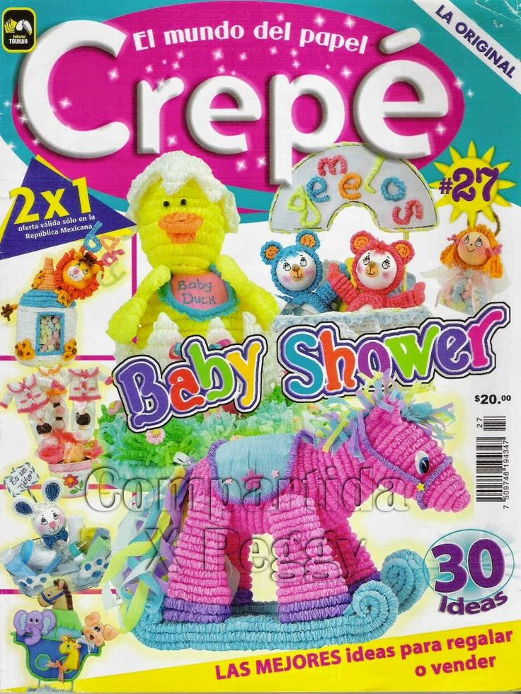 figuras con papel crepe baby shower