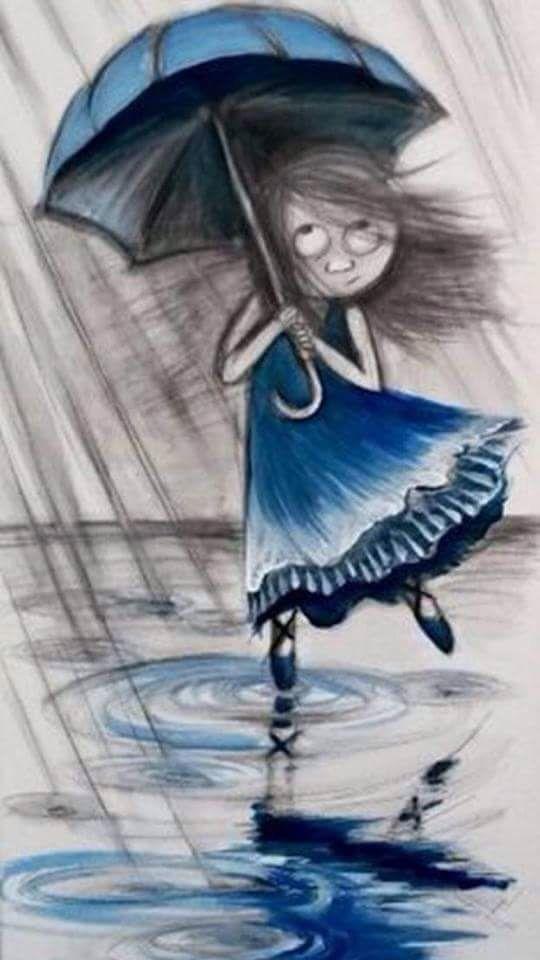 Рисунок девочка под дождем с зонтиком, открытки днем рождения
