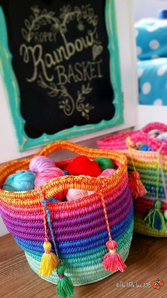 Rainbow Ropey Basket Crochet Tutorial from The Little Bee