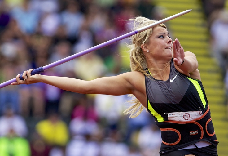 Brittany Borman placed first in the javelin to qualify for the London Olympics during the U.S. Olympic Trials at Hayward Field, in Eugene, Ore., July 1, 2012. Thomas Boyd/The Oregonian