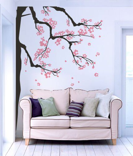 Adesivo murale Wall Art Alberi - Rami in fiore - Misure 125x170 cm - marrone e rosa - Decorazione parete, adesivi per muro, carta da parati