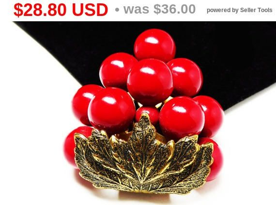 New Listings Daily - Follow Us for UpDates -  Summer Sizzler Sale 1930 1940s Lucite Dress Clip - #Vintage Fur Clip - Brass Leaves, Red Lucite Beads - Vintage Fashion offered by #TheJewelSeeker on Etsy  Description & Styl... #vintage #jewelry #teamlove #etsyretwt #thejewelseeker ➡️ http://etsy.me/2u7yV4w