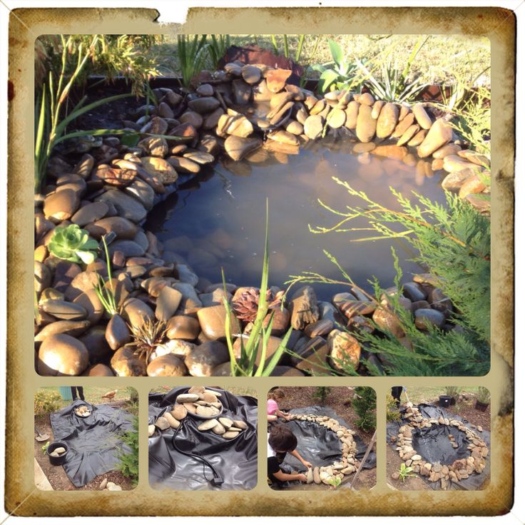 Simple pond I created with the kids. Using a solar powered pump I didn't even need power to set it up.  #pond. #howtobuildapond