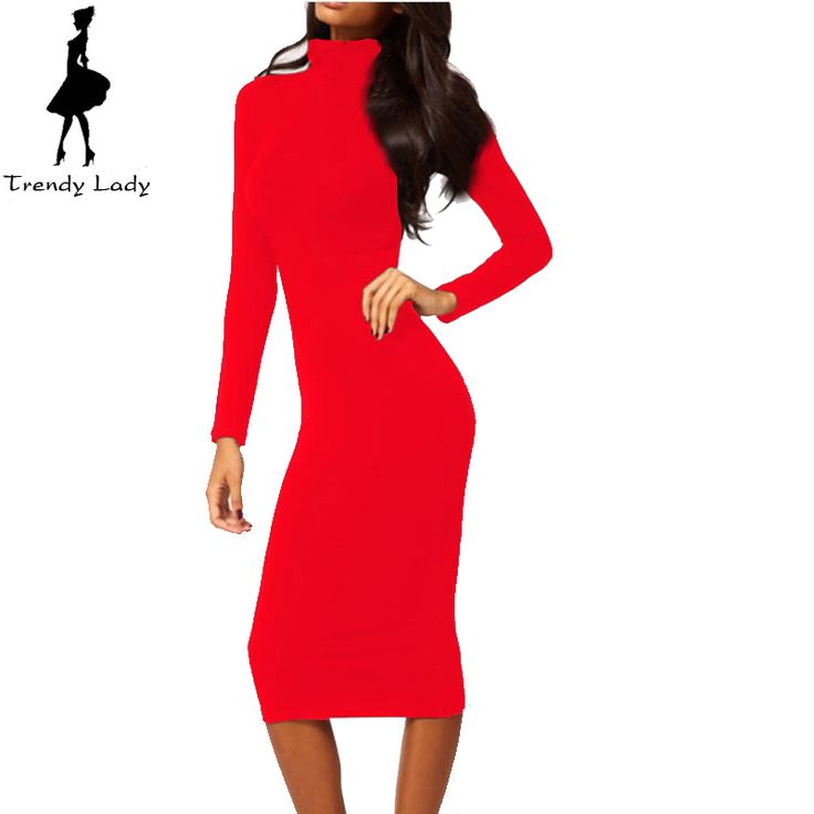 Women Dress Autumn Dark Blue Black Red Turtleneck Dress Long Sleeve Mid-Calf Pencil Bodycon Party Dresses