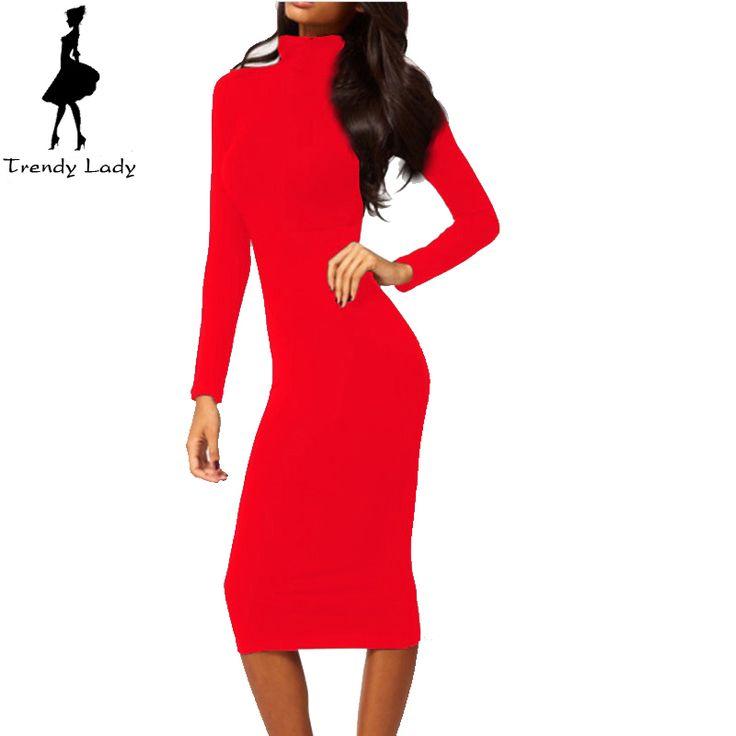 Women Dress Autumn Dark Blue Black Red Turtleneck Dress Long Sleeve Mid-Calf Pencil Bodycon Party Dresses