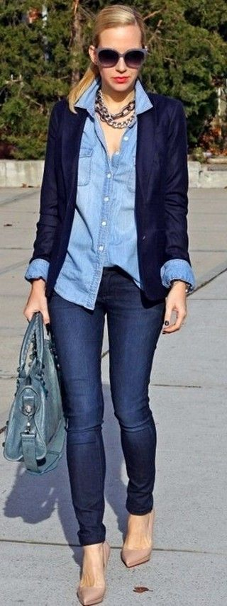 #streetstyle #casualoutfits #spring |Black + Shades Of Denim | Brooklyn Blonde