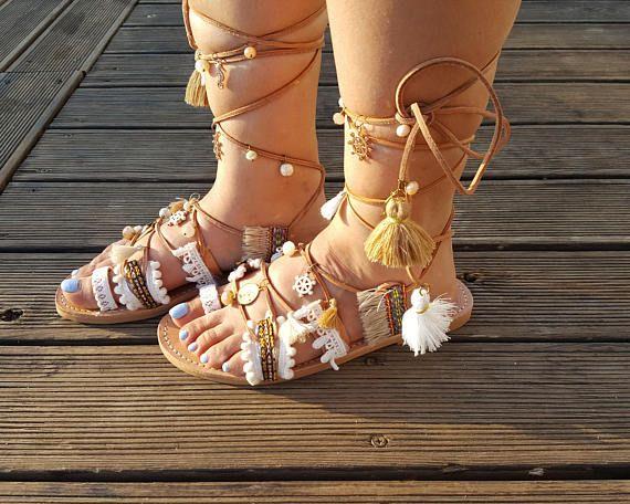 Boho Gladiator Sandals Greek Sandals Leather Sandals Lace