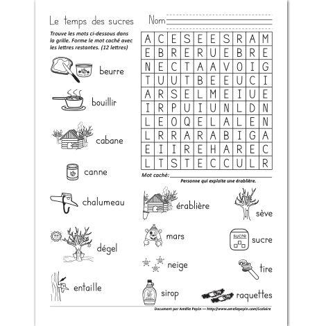 Fichier PDF téléchargeable En noir et blanc seulement 1 page  Ce mot caché illustré est un bon moyen d'apprendre du vocabulaire tout en s'amusant. Le mot à trouver est: acériculteur.