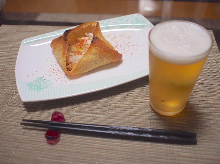 味噌汁の具材だけで日本酒に合うおつまみ「うすあげネギ味噌焼き」