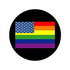 Rainbow American Flag GAY PRIDE BUTTON
