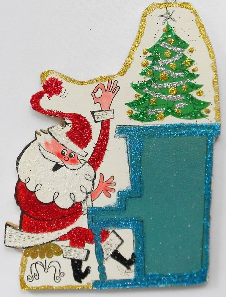Silly Santa Playing Piano Glittered Christmas Ornament Vintage Greeting Card