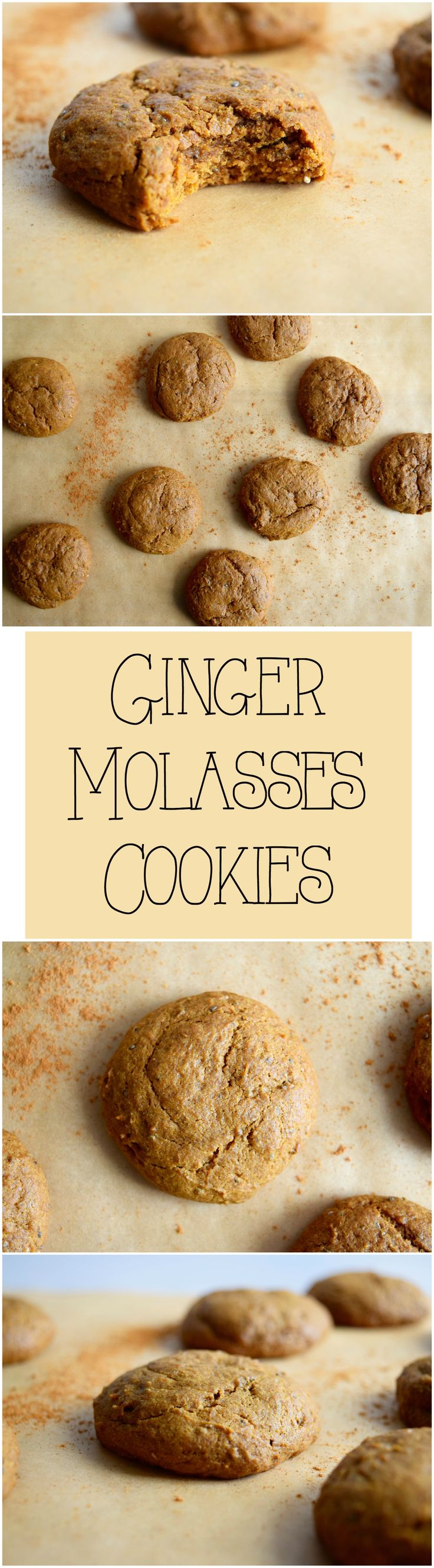 Ginger Molasses Cookies are vegan, dairy free, refined sugar free, and so delicious! The perfect holiday cookie  #vegancookies #gingercookies #vegandesserts #veganrecipes #sugarfree #dairyfree #holidaycookies