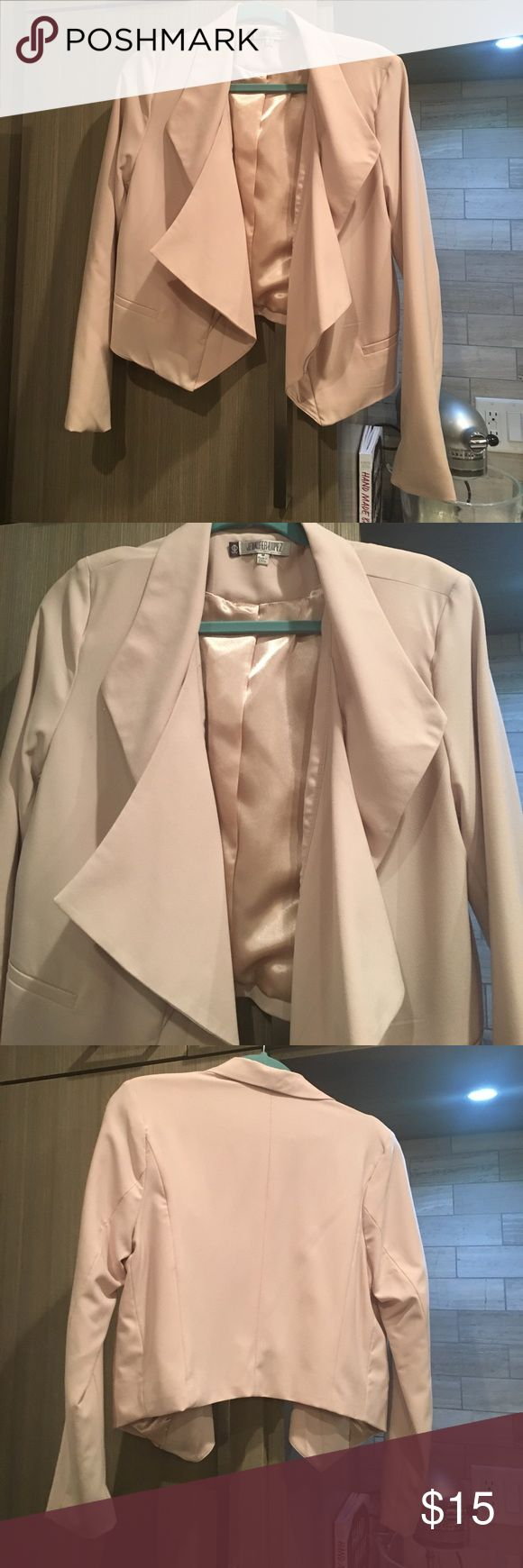 Jennifer Lopez WORN ONCE! Light weight pink blazer WORN ONCE! just dry cleaned and in great condition. Perfect with a tank top and jeans! Light weight pink jacket no buttons and falls nicely! Size M Jennifer Lopez Jackets & Coats Blazers