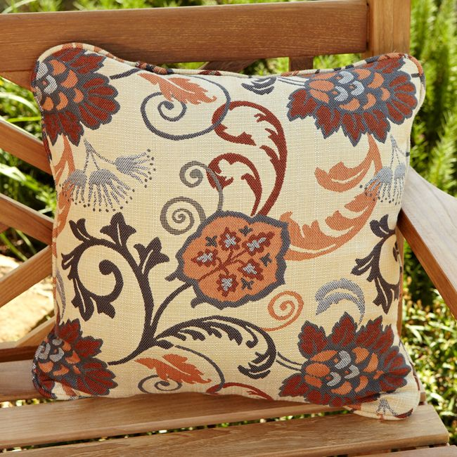 These beige Sunbrella pillows come in a set of two decorative pillows that feature a dramatic style to add flair to your patio decor. The 18-inch square pillows are exceptionally comfortable and the Sunbrella fabric resists fading and mildew.