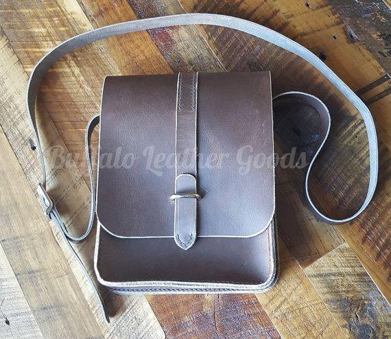 Leather Messenger Bag  iPad Tote  Crossbody by BuffaloLeatherGoods
