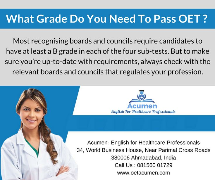 What grade do you need to pass #OET?  #Enroll today at our #Baroda and #Ahmedabad Branch Help Line No. 081560 01729 Ahmedabad city.