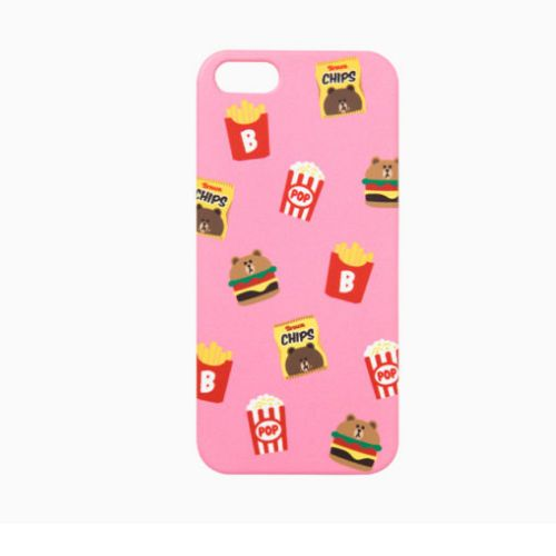 Line Friends Pink Brown iPhone 6/6s Plus PC Apple Hard Case Skin Cover Patterned #NaverLineFriends