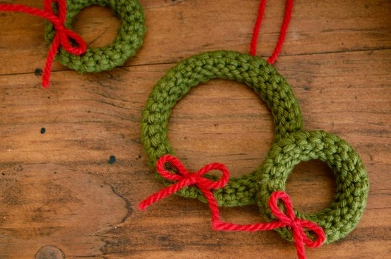 These are knit I think, but I can crochet an I-cord and do the same thing...these will make great ornaments or gift embellishments.