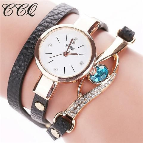 [EBay] Ccq Luxury Eye Gemstone Watches Women Gold Bracelet Watch Female Pu Leather Quartz Dress Wristwatches Relogio Feminino C53