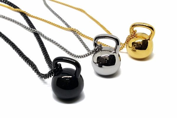 fit-02-f9 316L Stainless Steel Fitness Gym Kettlebell Necklace. Pendant 25mm.