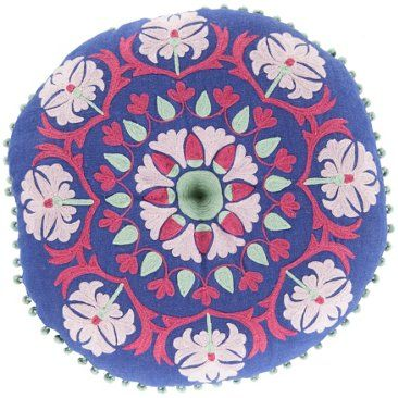 """Check out this item at One Kings Lane! Floral 16"""" Linen Circle Pillow, Multi"""