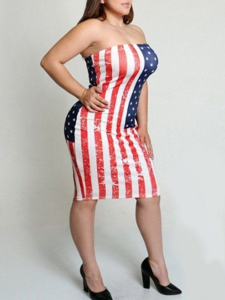 American Flag Plus Size Tube Dress in 2019 | Plus Size Holiday ...
