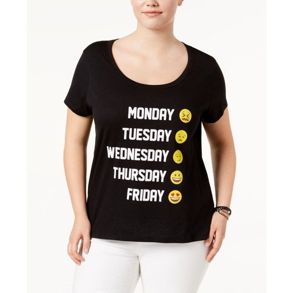 Freeze 24-7 Trendy Plus Size Cotton Emoji Graphic T-Shirt ($20) ❤ liked on Polyvore featuring plus size women's fashion, plus size clothing, plus size tops, plus size t-shirts, true black, plus size womens tees, going out tops, plus size t shirts and party tops
