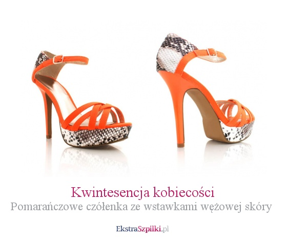 szpilki pomarańczowe - Kwintesencja kobiecości - Pomarańczowe czółenka ze wstawkami wężowej skóry