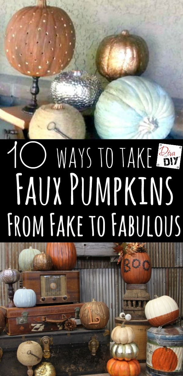 Faux pumpkins are perfect for your Halloween and Fall decorating! I've included no carve pumpkins as well as kid friendly and of course crazy unique pumpkins!