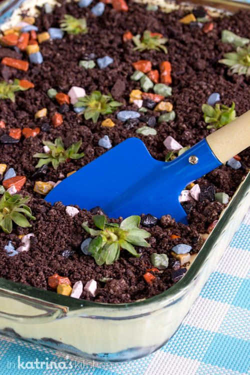 Get messy with this adorable Dirt Cake- perfect for baby showers, Father's Day, garden parties, and birthdays for kids who like to get down and dirty!