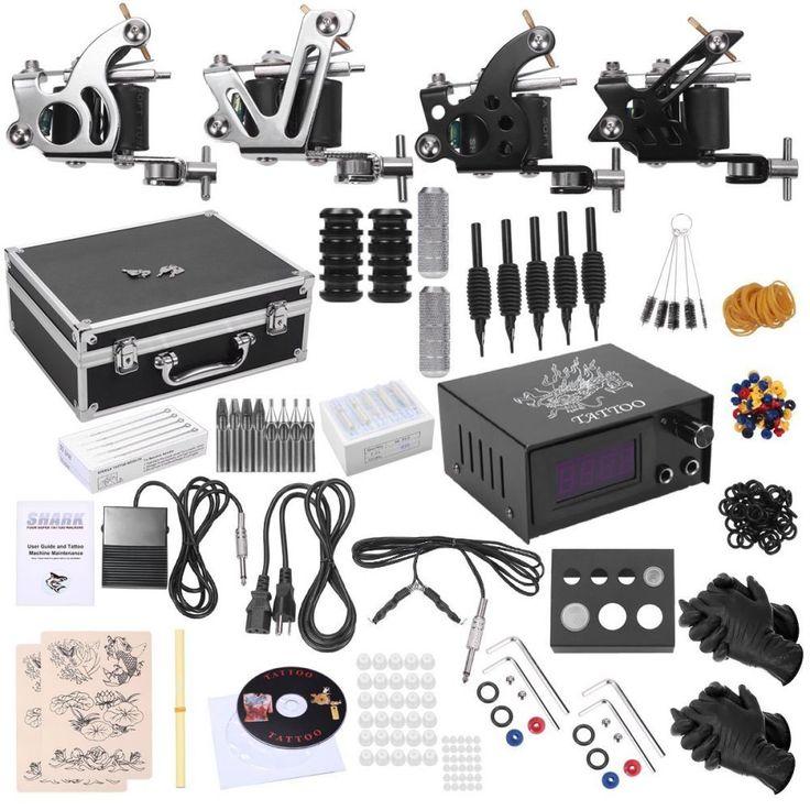 Shark Professional Tattoo Kit 4 Machines Gun Carry Case With Key Power Supply Ne #Shark