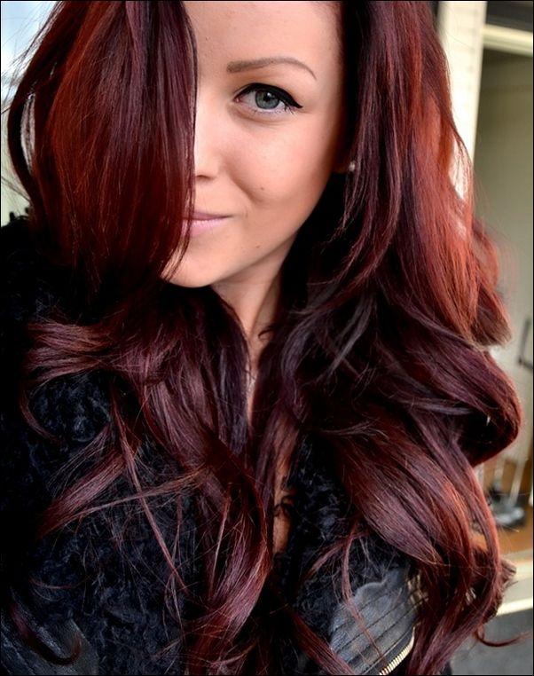brown hair cherry highlights