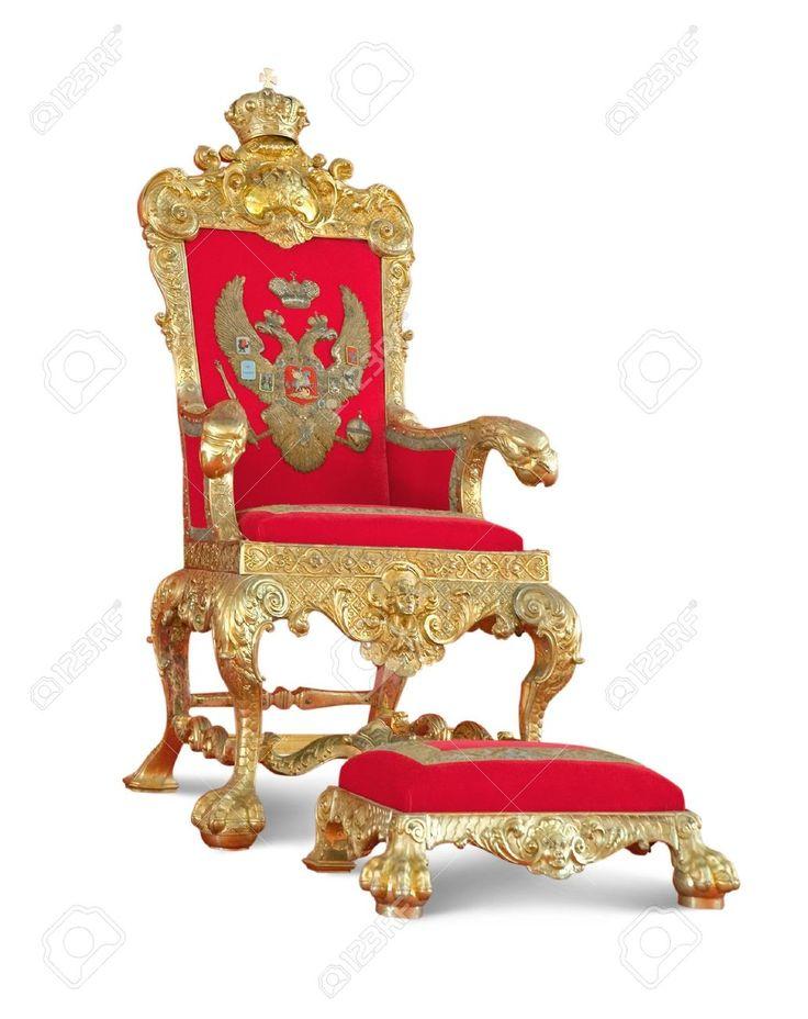 Gouden troon stoel met voetenbankje