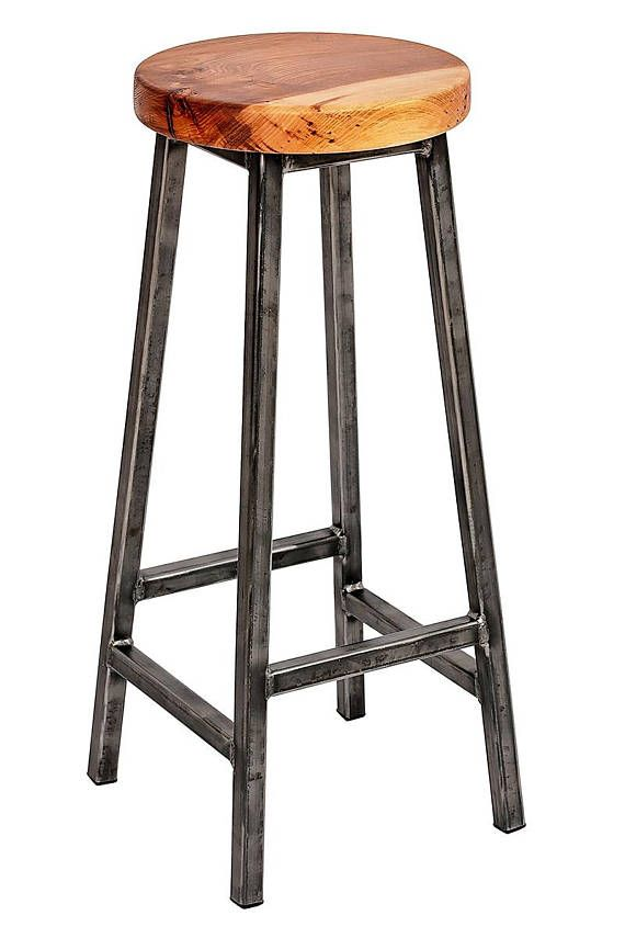 Charlie Elmsworth Chunky Square Frame Bar Stool With Chunky Elm Seat Muebles De Acero Muebles De Metal Muebles Hierro Y Madera
