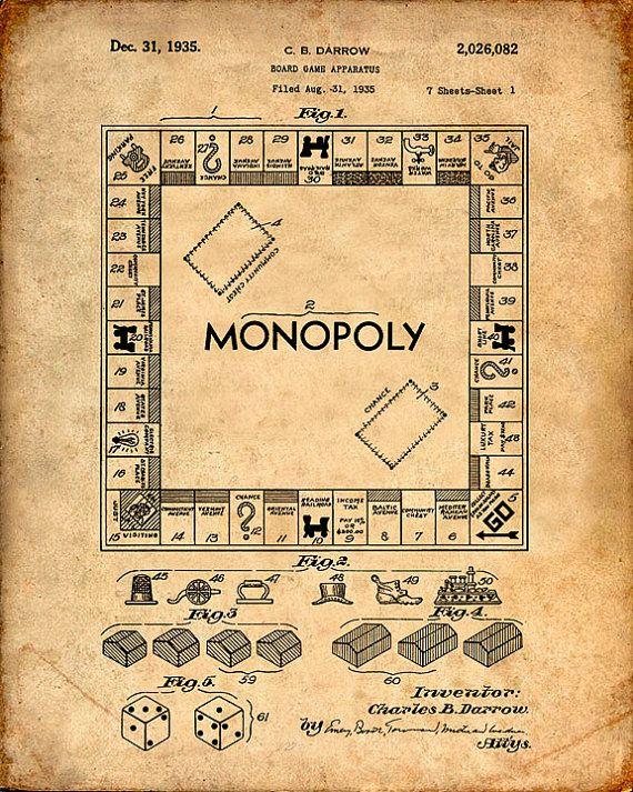 Imprimir patentes de monopolio juego de mesa lámina patente patente Poster