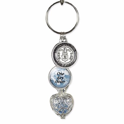 Air Force keychain with birthstone Navy One day closer