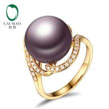 14k sarı renk altın 12-13mm Yuvarlak İnci 0.24ct Doğal elmas nişan yüzüğü Ücretsiz Kargo (Çin (Anakara))